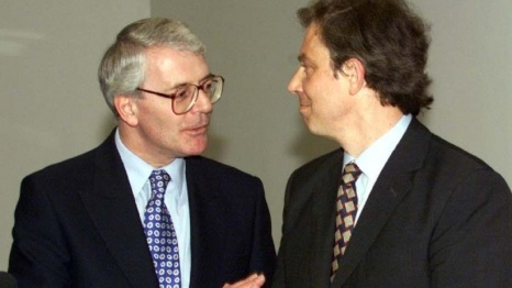 File photo dated 06/05/98 of former Prime Ministers Sir John Major and Tony Blair, who will warn of the risks Brexit poses to the unity of the UK as they campaign in Northern Ireland. PRESS ASSOCIATION Photo. Issue date: Thursday June 9, 2016. The rormer adversaries will share a platform for the Remain campaign, warning that a vote to leave the European Union could damage Northern Ireland and potentially lead to the break-up of the UK. See PA story POLITICS EU. Photo credit should read: Chris Bacon/PA Wire