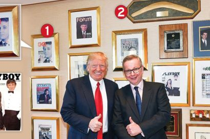 Mr Trump's Office Wall(as admired by Mr. Gove